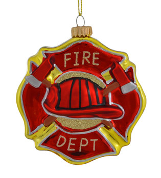Firefighters Prayer on Firefighters Badge Glass Ornament