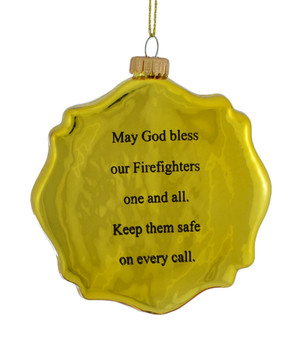 Firefighters Prayer on Firefighters Badge Glass Ornament back