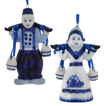 Delft Style Blue and White Water Carrier Ornaments j7353