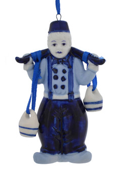 Delft Style Blue and White Water Carrier Ornaments j7353 boy