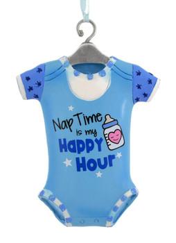 "Nap Time Blue Onesie Baby Ornament,  3 3/8"", KAA1777-blue"