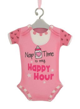 Nap Time Pink Onesie Baby Ornament