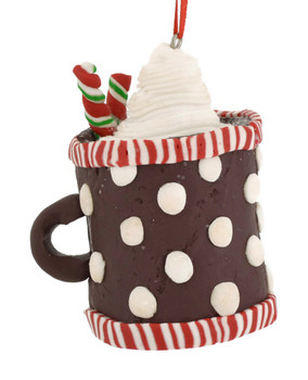 Clay dough Hot Cocoa Cup Ornaments brown