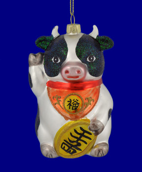 Waving Good Luck Animal Cow Glass Ornament front