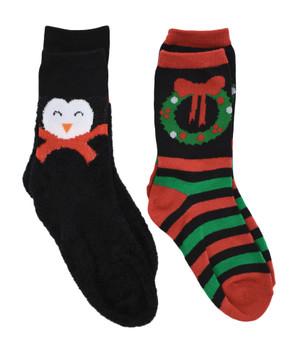 Children's Fun 2 pack Christmas Socks - Penguin - Wreath, Size 6-8 1/2, mas115