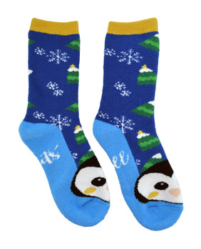 Ladies Thick, Warm Christmas Socks - Lets Chill Penguin, Size 9-11, mas109