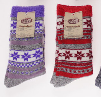 Ladies Thick Lined Non-Slip Winter Cabin Slipper Socks - Digital Pattern - 1 Pair, by Clear Creek, Size 9-11, cc205