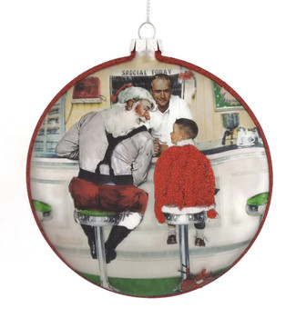 50s Diner Disc Glass Ornament Santa with Boy