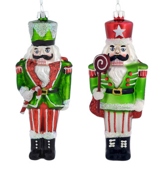 Candy Nutcracker Glass Ornament