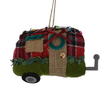 Winter Plaid with Burlap Fabric Trailer Home Ornament natural door green back