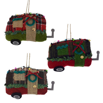 Winter Plaid with Burlap Fabric Trailer Home Ornaments