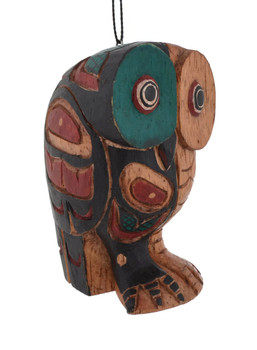 Totemic Art Owl Wood Ornament right and front