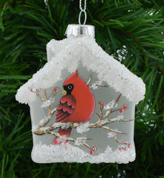 Frosted Clear Glass Birdhouse Ornament Cardinal