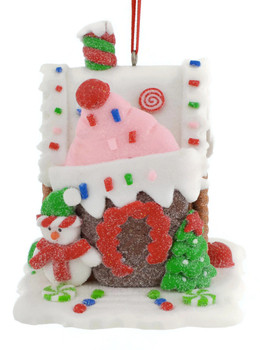 Candy and Pastry Gingerbread House Ornament white roof