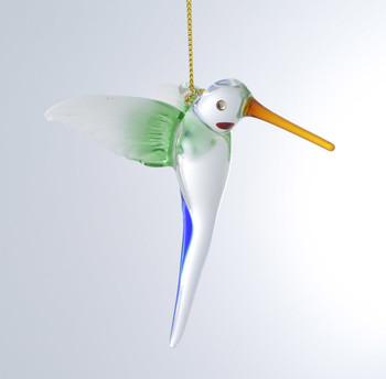Long Tail Hummingbird Mouth-Blown Egyptian Glass Ornament angle