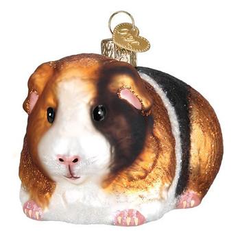 """Guinea Pig Glass Ornament, 2 1/2 x 3 1/2"""", OWC# 12542"""