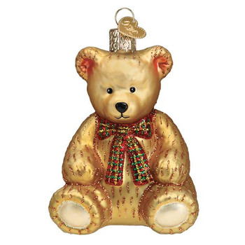 """Teddy Bear Glass Ornament, 4"""", OWC# 12543"""