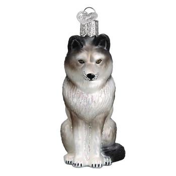 """Sitting Wolf Glass Ornament, 3 3/4"""", OWC# 12545"""