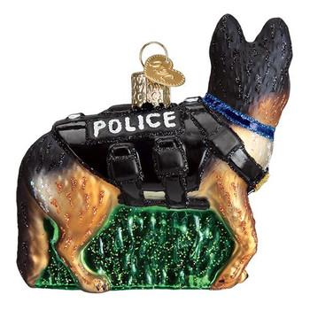 """K 9 Police Dog Glass Ornament, 3 1/2"""", OWC# 12546"""