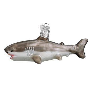 "Great White Shark Glass Ornament, 2 1/4 x 5 1/4"", OWC# 12549"