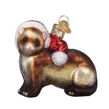 "Christmas Ferret Glass Ornament, 2 3/4 x 3"", OWC# 12551"
