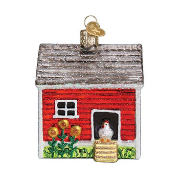 """Chicken Coop Glass Ornament, 3 1/2"""", OWC# 16128"""