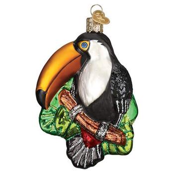 "Toucan Glass Ornament, 4 1/4"", OWC# 16129"