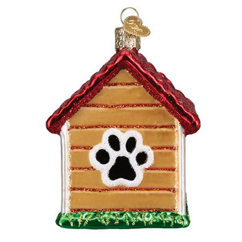 "Dog House Glass Ornament, 3"", OWC# 20113"