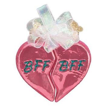 Bff Hearts Glass Ornament vendor  pic