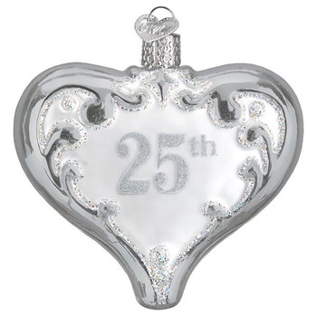 "25th Anniversary Heart Glass Ornament, 3 1/2"", OWC# 30055"