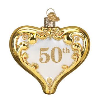 "50th Anniversary Heart Glass Ornament, 3 1/2"", OWC# 30056"