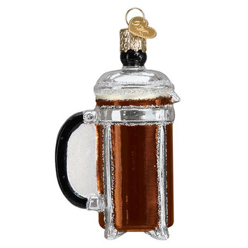 "French Coffee Press Glass Ornament, 3 3/4"", OWC# 32366"
