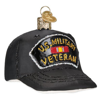 "Veteran's Cap Glass Ornament, 3 1/5"", OWC# 32375"