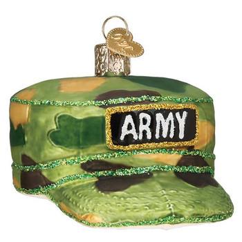 """Army Cap Glass Ornament, 3 1/4"""", OWC# 32376"""