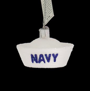 Navy Cap Glass Ornament front