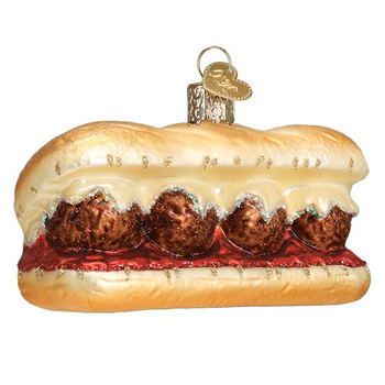 "Meatball Sandwich Glass Ornament, 4"", OWC# 32384"