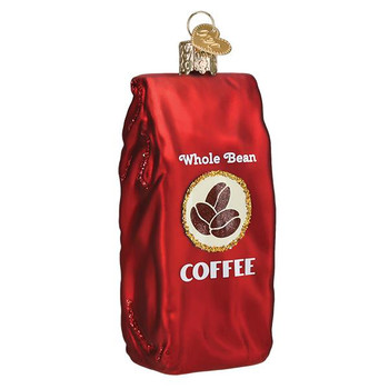 """Bag Of Coffee Beans Glass Ornament, 4"""", OWC# 32387"""