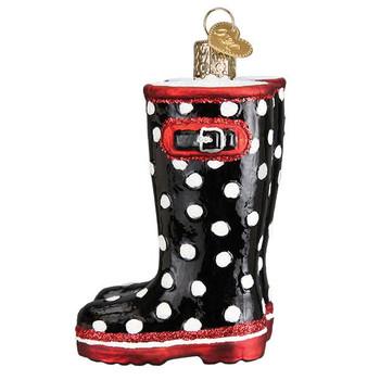 "Rubber Rain Boots Glass Ornament, 3 1/4"", OWC# 32389"