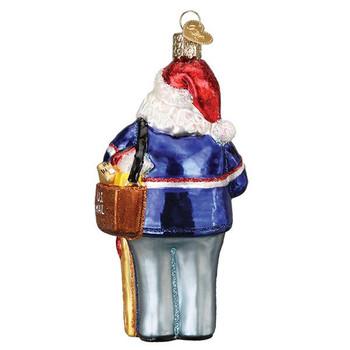 "Postal Service Postman Santa Glass Ornament, 4 7/8"", OWC# 40308"