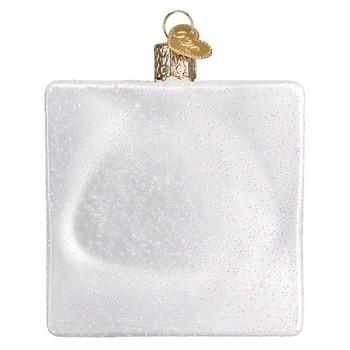 "Crossword Puzzle Glass Ornament, 3 1/2"", OWC# 44139"