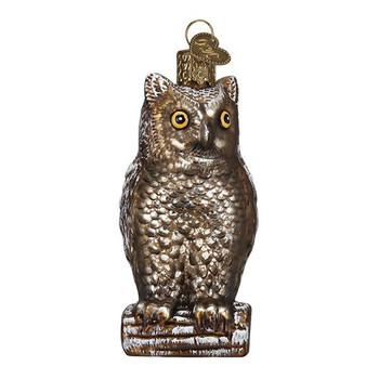 """Vintage Wise Old Owl Glass Ornament, 3 1/2"""", OWC# 51003"""