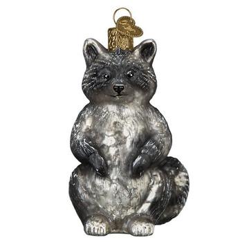 "Vintage Raccoon Glass Ornament, 3"", OWC# 51010"