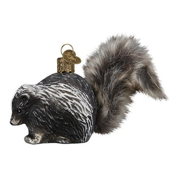 """Furry tail Vintage Skunk Glass Ornament, 3"""", OWC# 51011"""