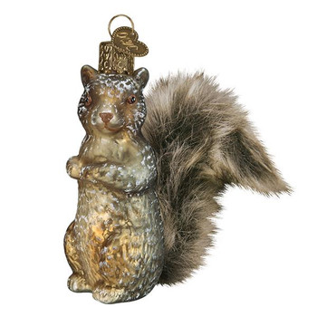 """Furry Tail Vintage Squirrel Glass Ornament, 4"""", OWC# 51012"""