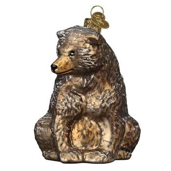 "Vintage Bear Glass Ornament, 3 3/4"", OWC# 51013"