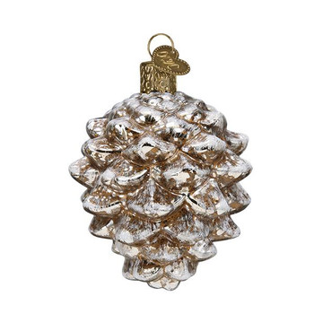 "Vintage Fat Pine Cone Glass Ornament, 3"", OWC# 51014"