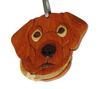 "Pet Dog Face Intarsia Wood Ornament, 2 3/4 x 3"", #HCORN1088"