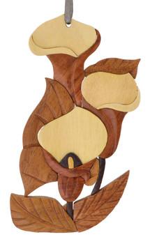 Calla Lilly Flower Intarsia Wood Ornament