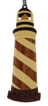Lighthouse Shinning Intarsia Wood Ornament
