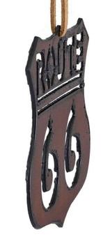 Rustic Cut Steel Route 66 Ornament side